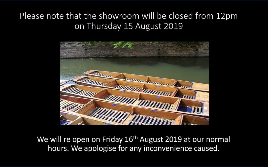 Half-Day Closing Thursday 15th August 2019