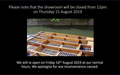 Half-Day Closing Thursday 15th August 2019