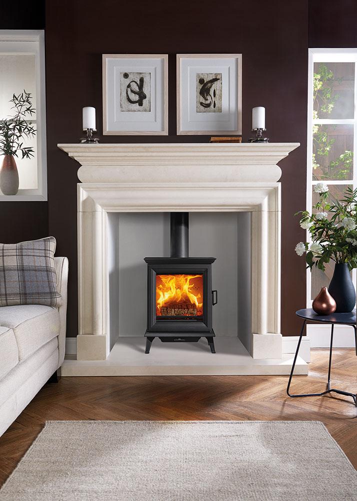 Sheraton 5 Woodburning With Cavendish Bolection Limestone Mantel Lb